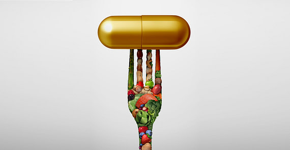 Food Vitamin supplement as a capsule with a fork shaped with fruit vegetables nuts and beansas a nutrient pill for natural medicine health treatment with 3D illustration elements.